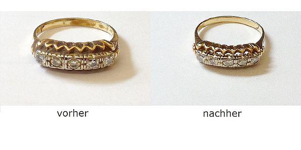 Gold reinigen: Ring vorher - nachher