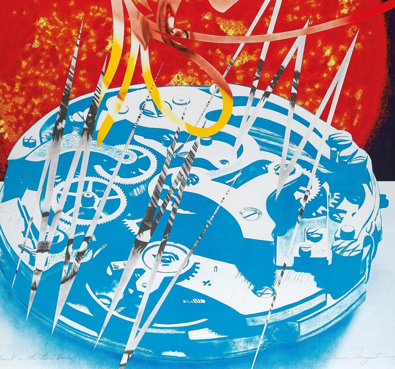 "Colour lithograph and collage on paper by James Rosenquist: ""Sunset in the Time Zone"""